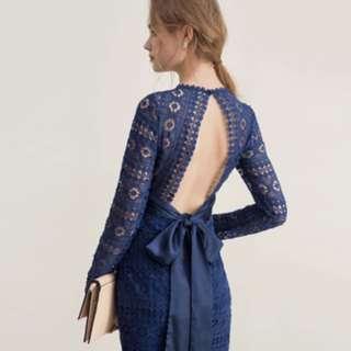 藍色露背蕾絲連身短裙