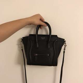 Celine Nano Luggage Bag in Black