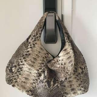 Beige and dark brown real python hobo bag
