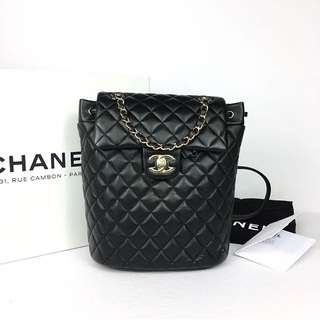 Chanel Quilted Backpack in Black Lambskin