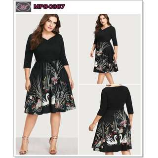 CODE: MPS-0387 Plus Size Swan Dress with Belt