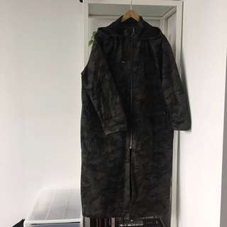 Topshop oversized long camo coat