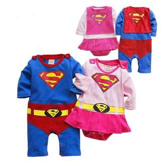 Superboy and Supergirl Costumes with removable Cape Outfit Romper Dress One-Piece Suit for Baby / Toddler Boys and Girls (0 - 24 Months / 2T) – Superman / Superwoman - Long / Short Sleeves – Photoshoot