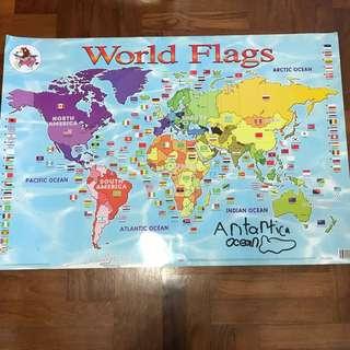 Educational wall chart- world flags