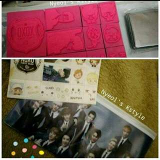 EXO PENCIL CASE + STAMP + STICKER