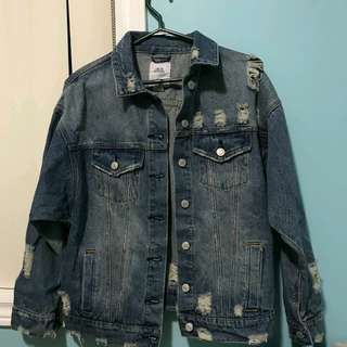 M boutique distress denim jacket
