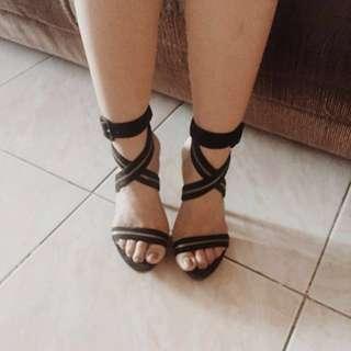 Gibi Black Velvet Strappy Heels (pls read description)