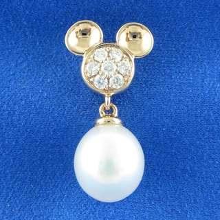 KALVION 18K/750 玫瑰色黃金鑽石吊墜 ‧ 白色淡水珍珠