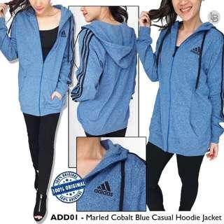 Adidas Marled cobalt blue Casual Hoodie Jacket m110 L120 pj68 Unisex Original brg msh polybagan Diweb 1 jtan Material polyester mix cotton