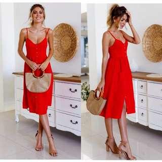Red Button Dress