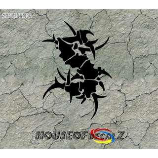 "Custom ""Sepultura logo"" Diecut Vinyl Decal No Background"