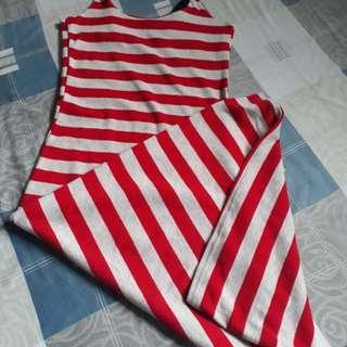 Red gray stripes dress