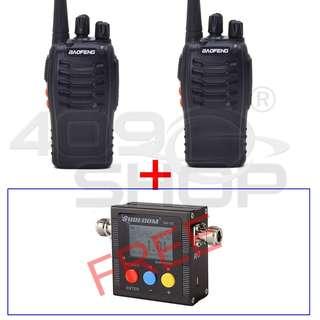 2x BAOFENG BF-888S FM RADIO FREE FOR SURECOM SW102 VHF/UHF Power & SWR Meter