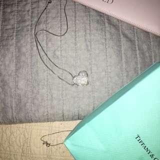 CUBIC ZIRCONIA crystallised heart necklace
