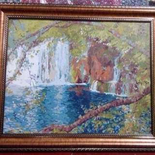 "Acrylic painting Title: ""SECLUDED FALLS"""