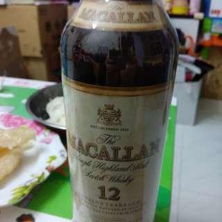 罕有,80年代,陳年麥卡倫12年43%威士忌750m l連原裝收藏木盒,靚水位。