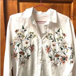 刺繡襯衫❤️碎花襯衫 白襯衫