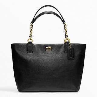 MADISON LEATHER LARGE TOTE (COACH f22263) Color: BLACK