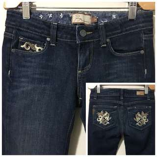 Paige 24 Benedict Canyon Stretch Bootcut Jeans w Floral Design