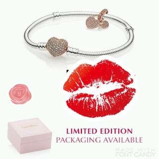 PANDORA VALENTINES COLLECTION ROSE DOUBLE HEART BRACELET SET