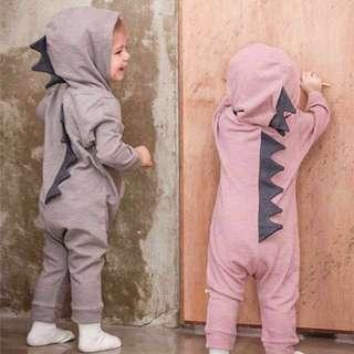 Grey Dino Onesies (6-12 months)