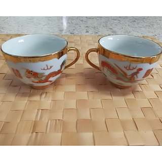 Vintage Golden Dragon Chinese Tea Cup (2pcs/ pack)