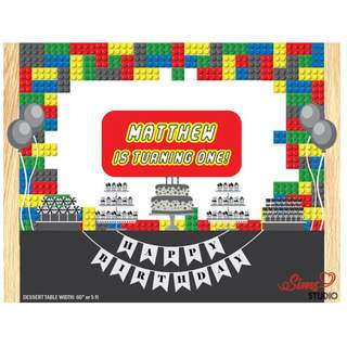 Personalized 3D Building Block Birthday Printable Backdrop, Lego Backdrop Poster or Photobooth Sign, Building Block Birthday Poster