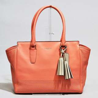 COACH 22390 SVBC1 LEGACY Carryall Coral Genuine Leather Satchel Handbag Color: Orange