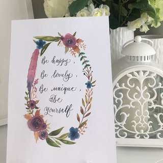 Motivational Quote Calligraphy Piece (only one)