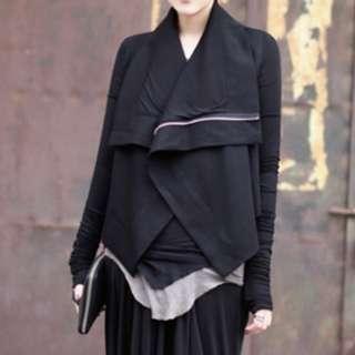 Rck Owens同款 暗黑系經典款斜襟拉鏈造型外套