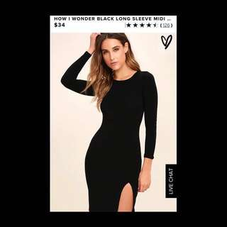 """black long sleeve dress with a slit down to thigh from """"LULUS"""""""