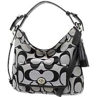 COACH 22392 SBWBK LEGACY OP ART Canvas & Leather Shoulder Bag Color:Black