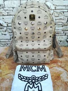 Authentic MCM STARK Large Beige Backpack