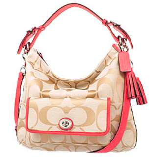 Coach 22392 SVB3V Legacy Signature Canvas/leather Shoulder Handbag Color RED