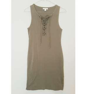 Khaki Kookai Cotton Mini Dress - Size 2 (AU10-12) *Never worn*