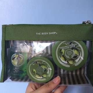 The body shop shower gel, body butter, body scrub