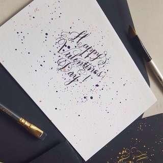 Handmade Calligraphy Valentine's Day Cards