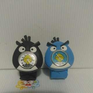 憤怒鳥(黑,藍) 捲尺手錶 拍拍錶 2入(可單買)