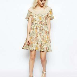 Asos floral cream lace trim boho dress