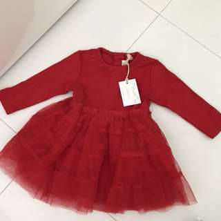 Chateau de sable baby girl red dress
