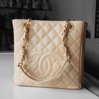 Authentic Chanel Beige Caviar PST