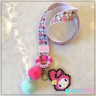 My Melody inspired Personalised Lanyard with Perler/Hama Bead Character