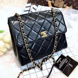 Chanel Vintage 黑色羊皮Square Flap 23cm