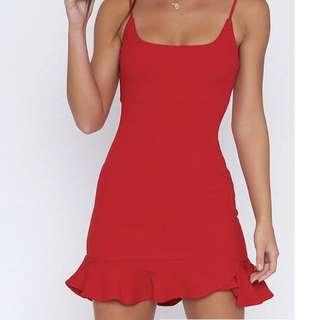 Red dress- spaghetti strap frill