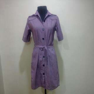 Elegant Violet Button Down Dress