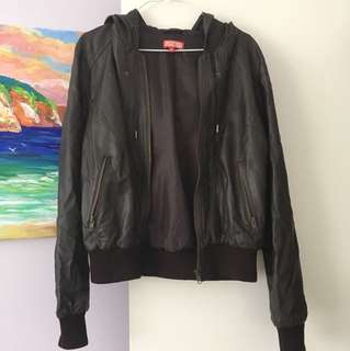Brown Faux Leather Bomber