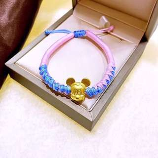 24K Gold Mickey Mouse Charm with Handmade String Bracelet