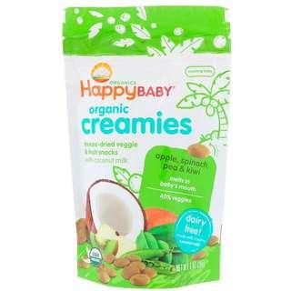 Happy Baby, Organic Creamies, Freeze-Dried Veggie & Fruit Snacks, Apple, Spinach, Pea & Kiwi, 28 g