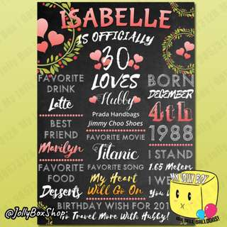 Chalkboard Display - Happy Birthday Display Board For Adult - Ladies Version - A1 Foam Board