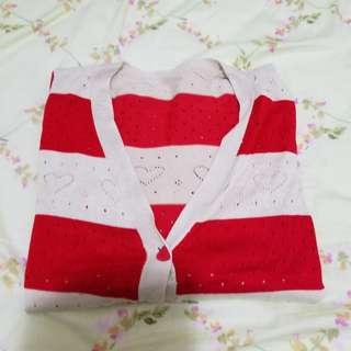 米紅隔條外套 全新 適合OL